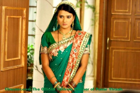 Punar Vivaah Aarti in green designer saree